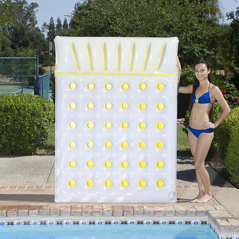x 56 in Pool Float Mattress 78 in Double Inflatable Design in Blue//Yellow
